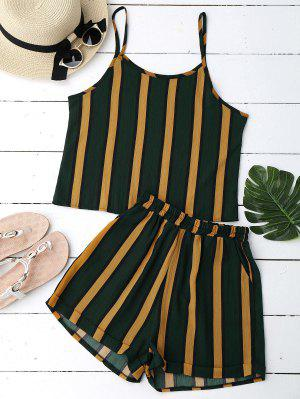 Color Block Striped Cami Top With Shorts - Stripe
