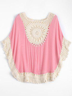 Crochet Insert Beach Poncho Cover Up - Pink