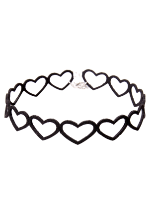 Heart Vintage Choker Necklace - Black