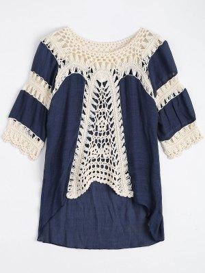 Crochet Insert Beach Cover Up Tunic Top - Purplish Blue