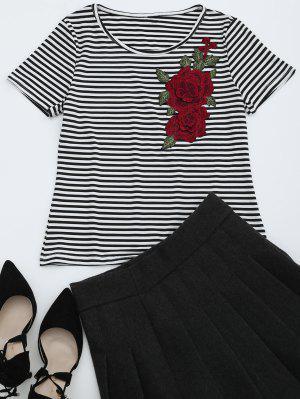 Camiseta Rayada Remendada Floral Del Collar Redondo - Raya Xl