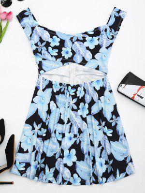 Vestido Ahuecado De Flores Con Vuelo - Negro L