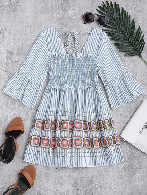 Square Neck Striped Smocked Babydoll Top - Blue