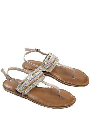 Belt Buckle Beading Flat Heel Sandals - Apricot 37