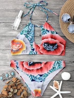 Keyhole Halter Bikini Top And Bottoms - Multicolor S