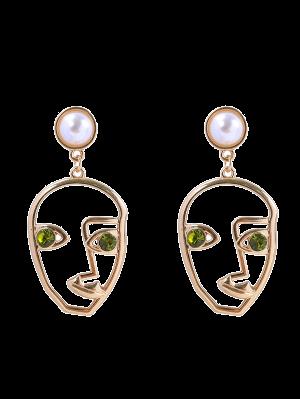 Rhinestone Faux Pearl Face Earrings - Green
