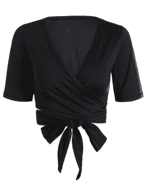 Cropped Plunging Neck Sporty Wrap Top - Black M