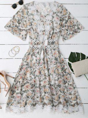 Vestido Floral Con Cuello En V Con Cordón Combinado - Blanco M