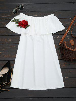 Floral Patched Flounce Shift Dress - White