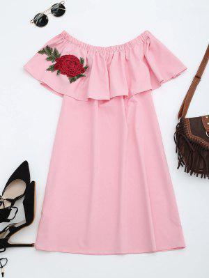 Vestido Recto Con Volantes Con Parches Florales - Rosa