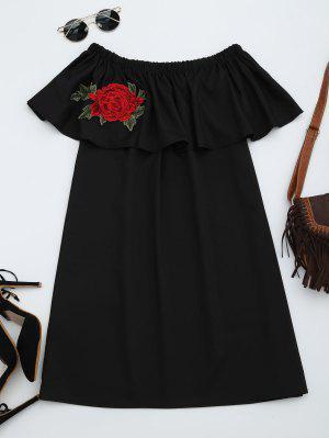 Vestido Recto Con Volantes Con Parches Florales - Negro