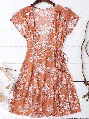 Cap Sleeve Wrap Graphic Mini Dress - Floral S