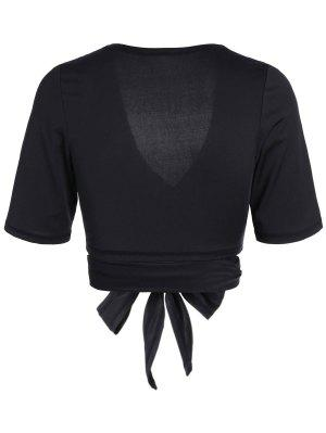 Cropped Plunging Neck Sporty Wrap Top