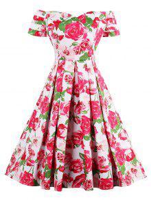 فستان عالية الخصر بلا اكتاف طباعة الوردة كلاسيكي - أبيض L