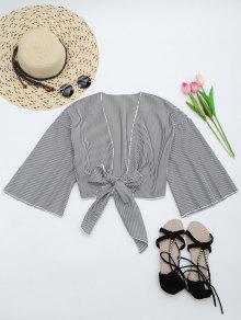 Self Tie Cropped Striped Blouse - Black Stripe S