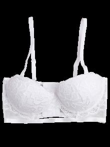 2018 Cut Out Sheer Lace Underwire Bra In WHITE S