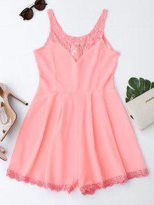 Sleeveless Cutout Lace Insert Romper - Fluorescent Pink S