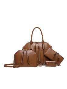 Buy Zips Solid Color PU Leather Tote Bag - BROWN