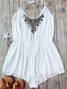 Plunge Halter Beach Cover Up Romper - White S