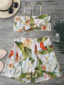 Floral Knot Crop Top And Shorts Set - White L