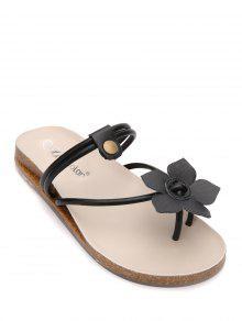Buy Faux Leather Flat Heel Flower Slippers - BLACK 37