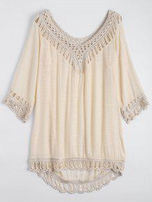Relaxed Fit Beach Tunic Cover Up Vestido - Albaricoque