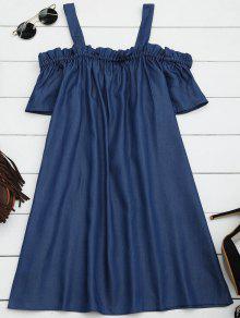 Ruffles Casual Cold Shoulder Mini Dress - Denim Blue 2xl