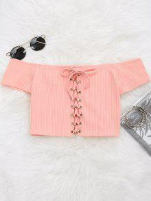 Lace Up Ribbed Off Shoulder Top - Pink S