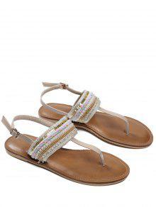Belt Buckle Beading Flat Heel Sandals - Apricot 38
