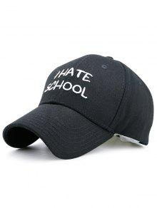 I Hate School Embroideried Design Baseball Hat - Black