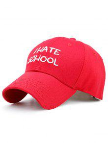 I Hate School Embroideried Design Baseball Hat - Red