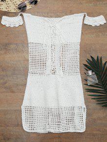 مفتوحة متماسكة قبالة الكتف التستر اللباس - أبيض