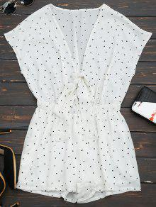 Buy Batwing Polka Dot Bowknot Romper - WHITE L