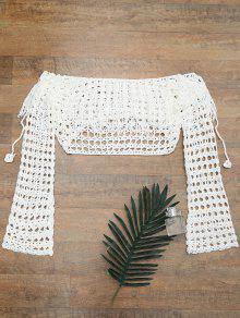 Crochet De La Cubierta Del Hombro Encima De La Tapa - Blanco