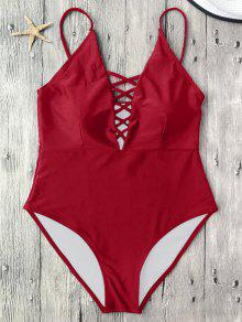 Strappy Lace-Up One-Piece Swimwear - Red L