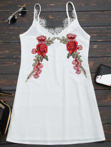 Vestido De Encaje Floral Bordado De Encaje - Blanco Xl