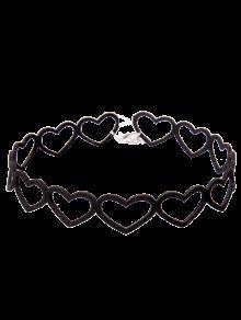Collar Del Ahogador Del Vintage Del Corazón - Negro
