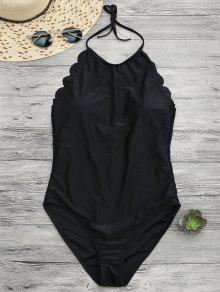 Scalloped High Neck Swimwear - Black Xl