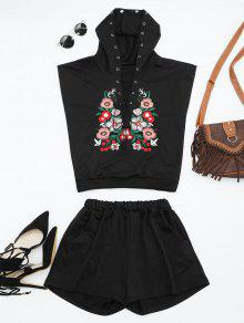Floral Patched Hooded Two Piece Suit - Black S
