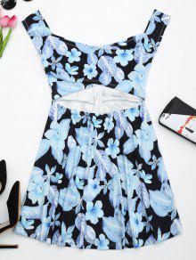 Floral Print Cut Out Flare Dress - Black M