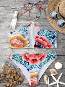 Floral Mesh Padded Halter Bikini Set - Floral S