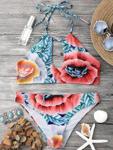 Keyhole Halter Bikini Top And Bottoms - Multicolor L