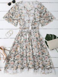 Lace Up Plunging Neck Floral Dress - White L