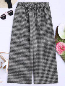 Houndstooth Wide Leg Gaucho Pants - Black
