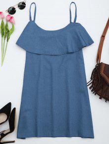 Vestido Recto De Tirantes Finos Con Volantes  - Denim Blue Xl