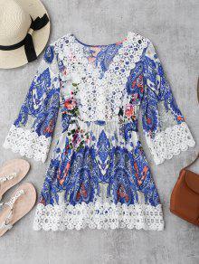 Mini Vestido Con Estampado Floral De Paisley Con Ganchillo Insertado - Floral Xl