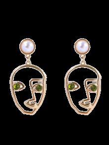 Rhinestone Faux Pearl Face Earrings - Green