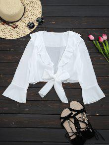 Ruffle Hem Self Tie Cropped Blouse - White S