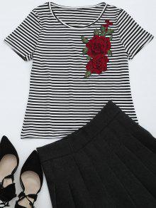 Round Collar Floral Patched Striped Tee - Stripe Xl