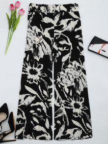 High Waist Printed Wide Leg Pants - Black M